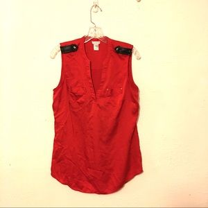 CACHE Red Silk Tunic Top With Leather Trim Size Lg
